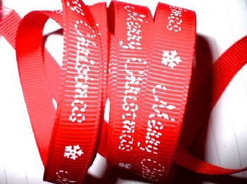 9mm Merry Christmas Grosgrain Ribbon